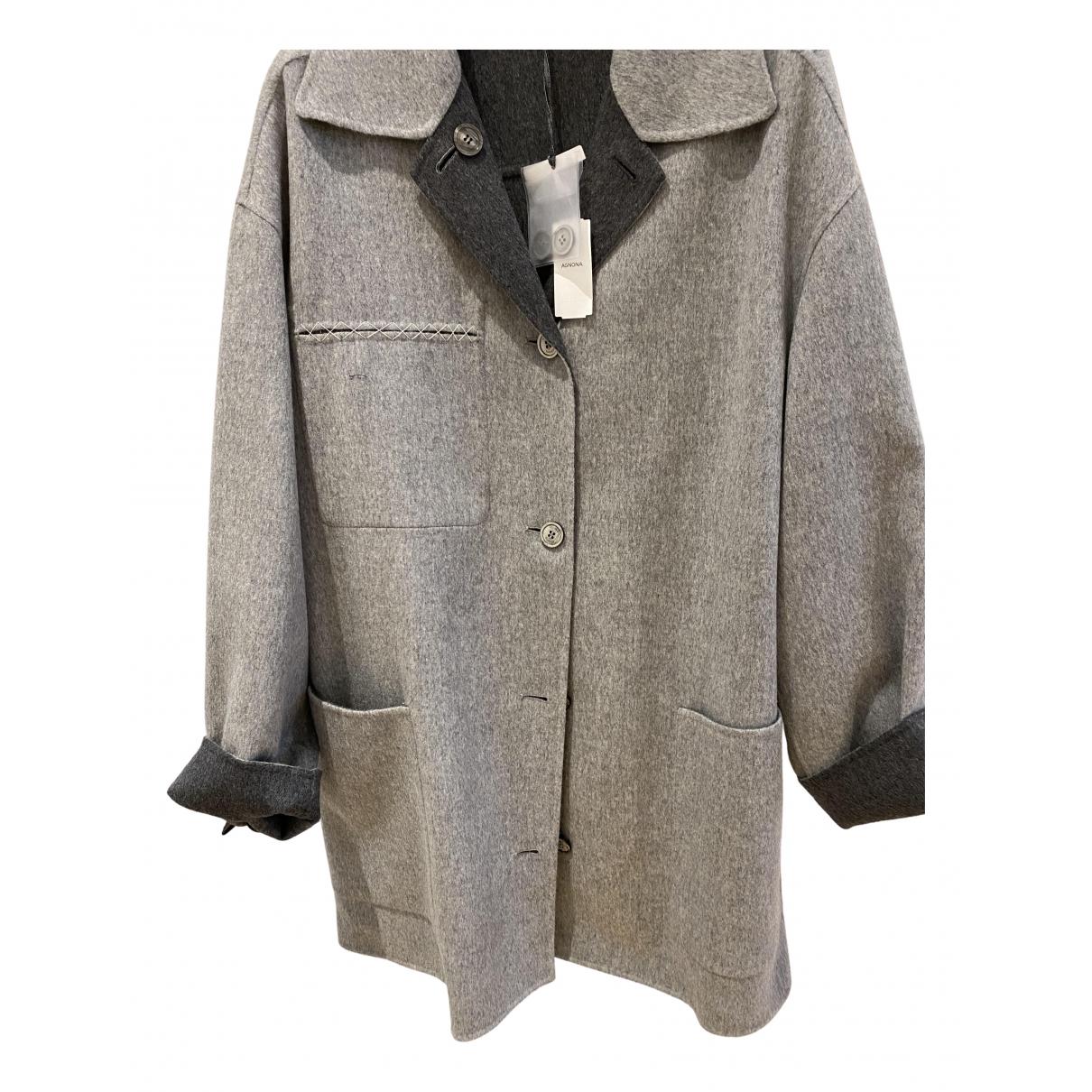 Agnona N Grey Cashmere coat for Women 50-52 IT