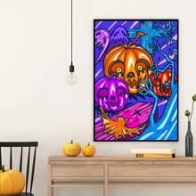 Pintura de pared con estampado de calabaza de Halloween sin marco