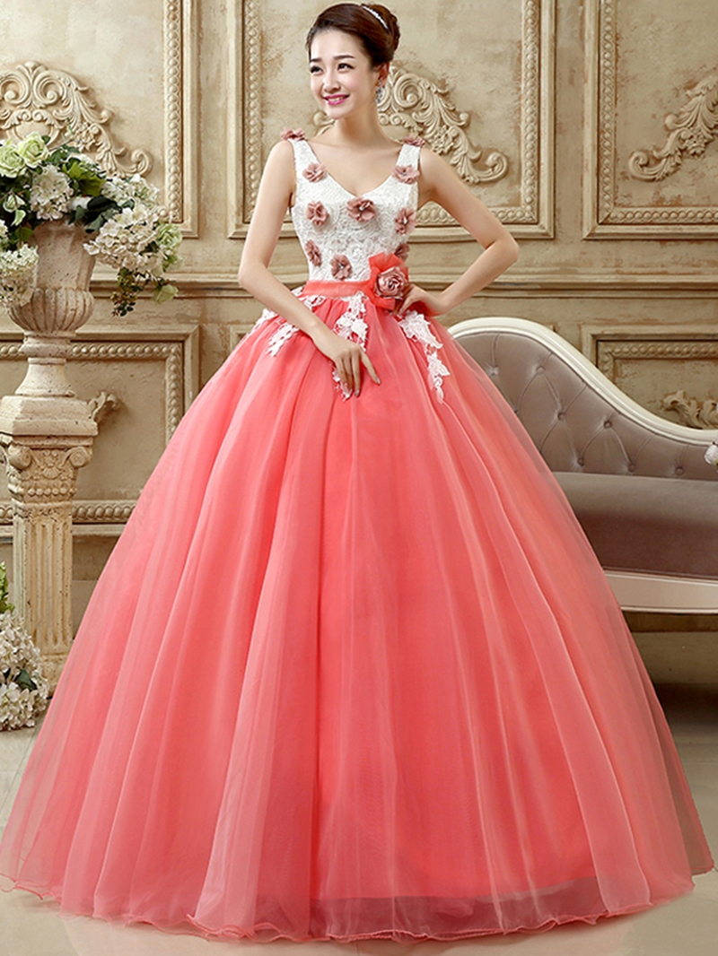 Ericdress V-Neck Appliques Floor-Length Ball Gown Quinceanera Dress