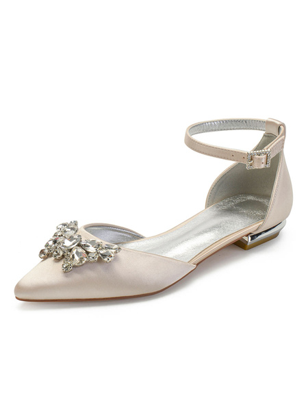 Milanoo Wedding Shoes White Satin Rhinestones Pointed Toe Flat Bridal Shoes