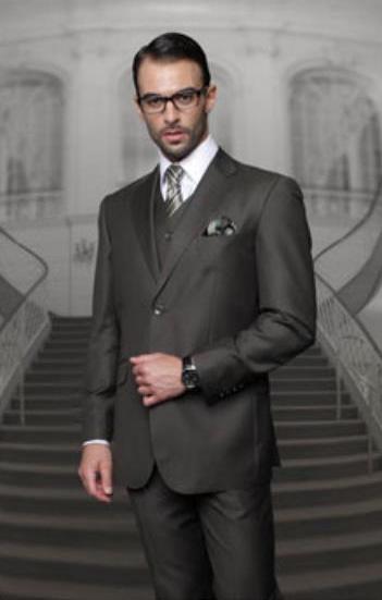 Statement Men's 2 Button Olive Modern Fit Wool Suit