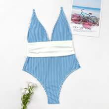 Striped Knot Back One Piece Swimsuit