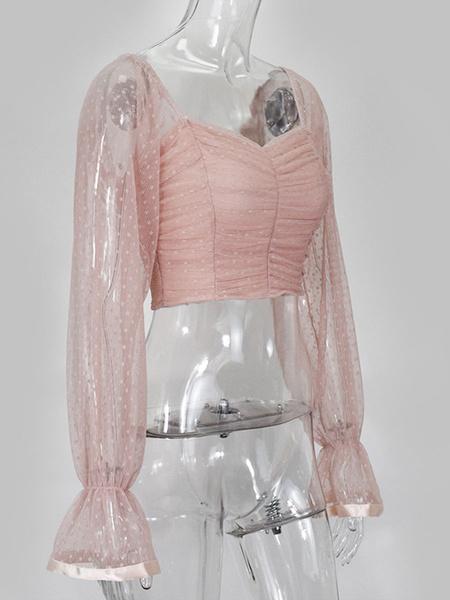 Milanoo Blusa de lunares Mujeres fuera del hombro Tops sexy