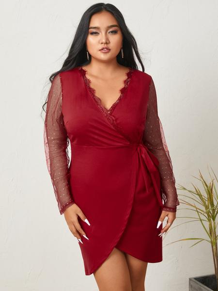 YOINS Plus Size V-neck Tie-up Design Lace Long Sleeves Mini Dress
