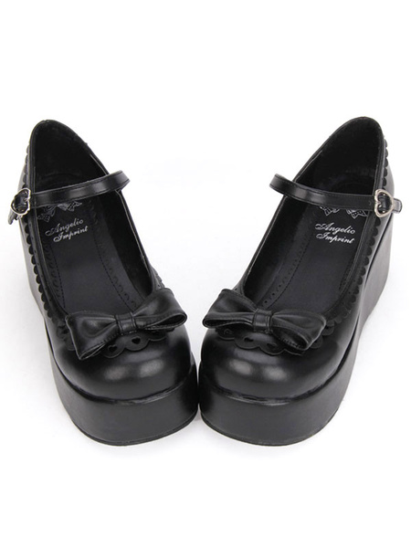 Milanoo Sweet Lolita Shoes Black Platform Wedge Ankle Strap Lolita Shoes With Bow
