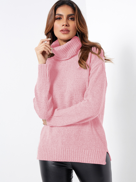 Yoins Pink Roll Neck Knitted Pullover Jumper