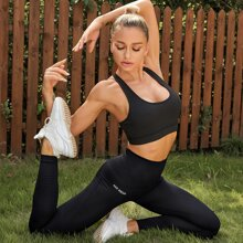 Wide Band Waist Letter Graphic Sports Leggings
