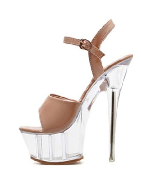 Milanoo Sexy Sandals For Woman Nude Patent Leather Open Toe 2 5.9 Clear Heel Sexy Shoes