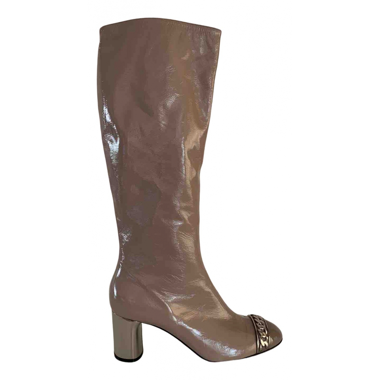 Casadei N Beige Patent leather Boots for Women 39.5 IT