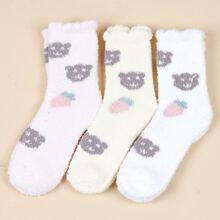 3pairs Cartoon Graphic Fuzzy Socks