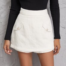 Flap Detail Zip Back Tweed Skort