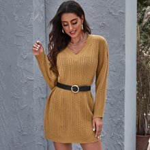 Solid Cable Knit Sweater Dress Without Belt
