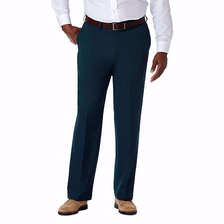 Haggar Cool 18 Pro Flat Front Pant- Big & Tall, 50 34, Blue