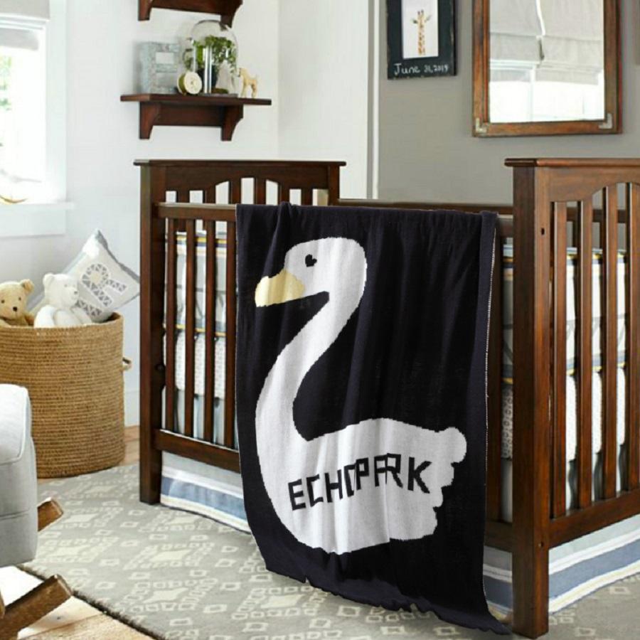 White Swan Printing Children Cotton Thread Blanket