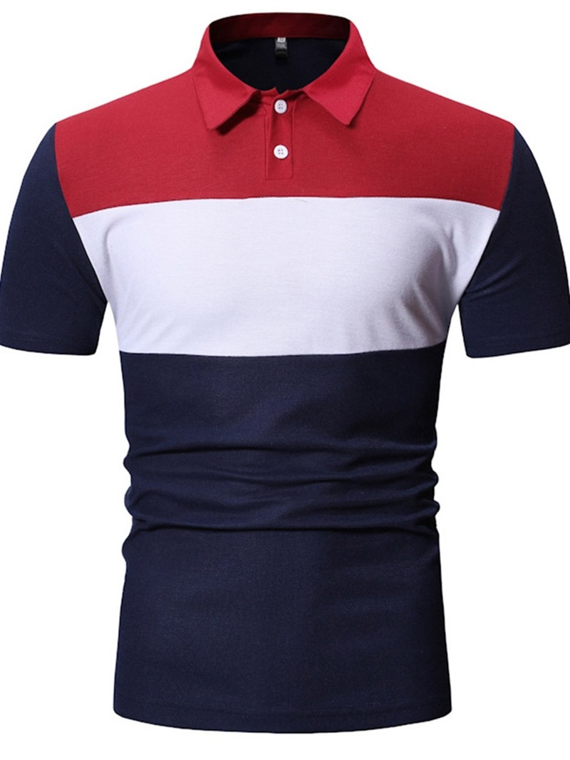 Ericdress Color Block Button Mens Polo Shirt