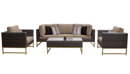 Barcelona BARCELONA-06r-GLD-WHEAT 6-Piece Patio Set 06r with 2 Corner Chairs  1 Armless Chair  2 Club Chairs and 1 Coffee Table - Beige and Wheat