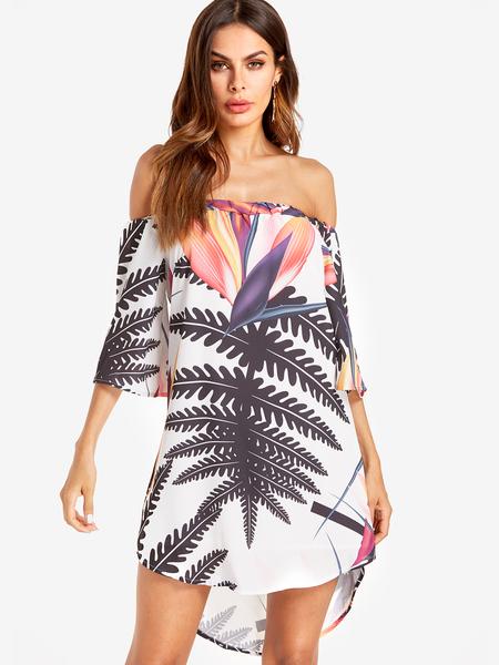Yoins Random Floral Print Off The Shoulder Mini Dress