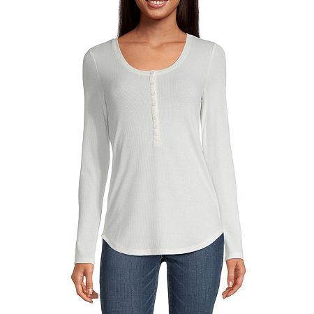 a.n.a Womens Henley Neck Long Sleeve Henley Shirt, Large , Beige
