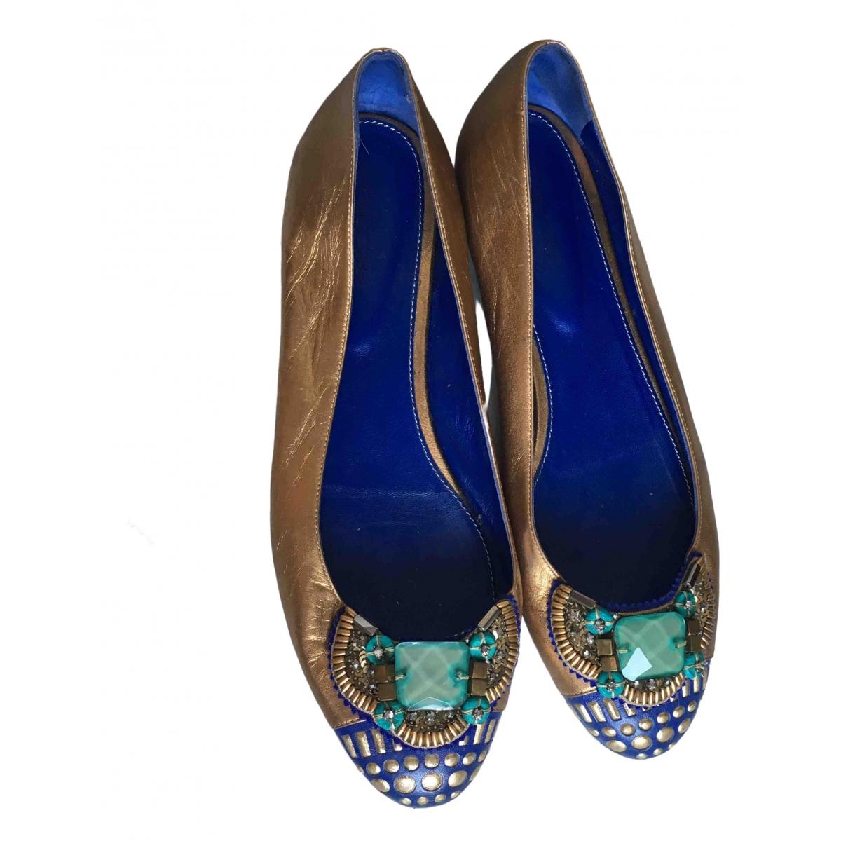 Sergio Rossi \N Ballerinas in  Gold Leder