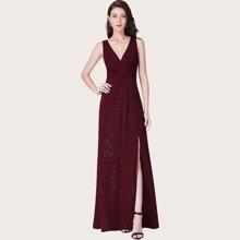 Surplice Neck Fold Pleated Detail Split Glitter Prom Dress