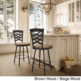 Amisco Weaver Swivel Bar Stool with Distressed Wood Seat (Beige Wood / Brown Metal)