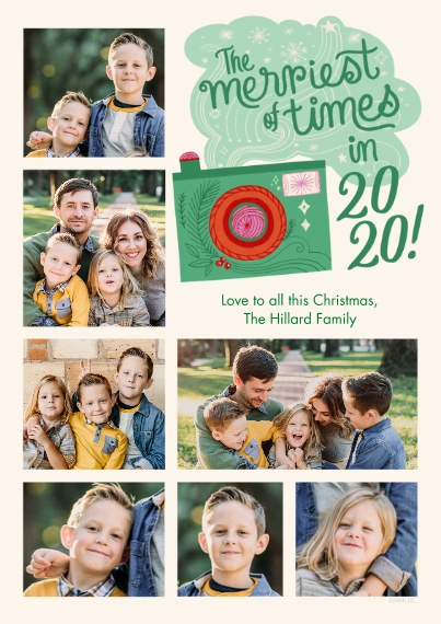 Christmas Photo Cards 5x7 Cards, Premium Cardstock 120lb, Card & Stationery -Merriest Times of 2020 Photo Collage by Hallmark