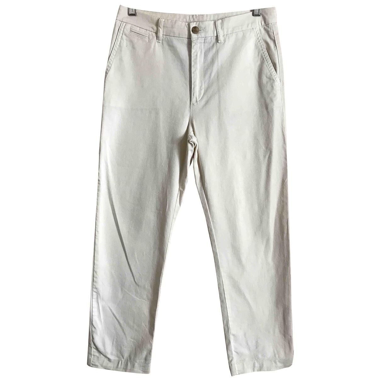 Boss \N Ecru Leather Trousers for Women 38 IT