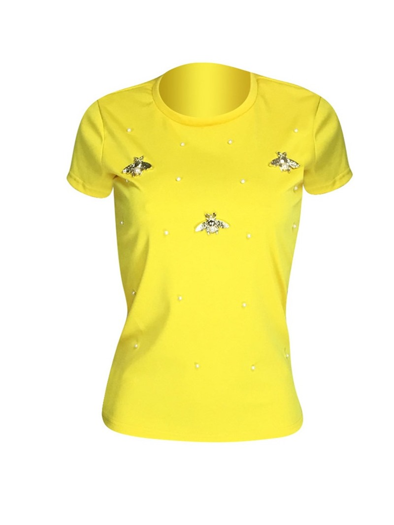 Ericdress Plain Short Sleeve Bead Casual T-Shirt