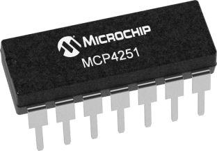 Microchip MCP4251-104E/P, Digital Potentiometer 100kΩ 257-Position Linear 2-Channel Serial-SPI 14 Pin, PDIP (2)