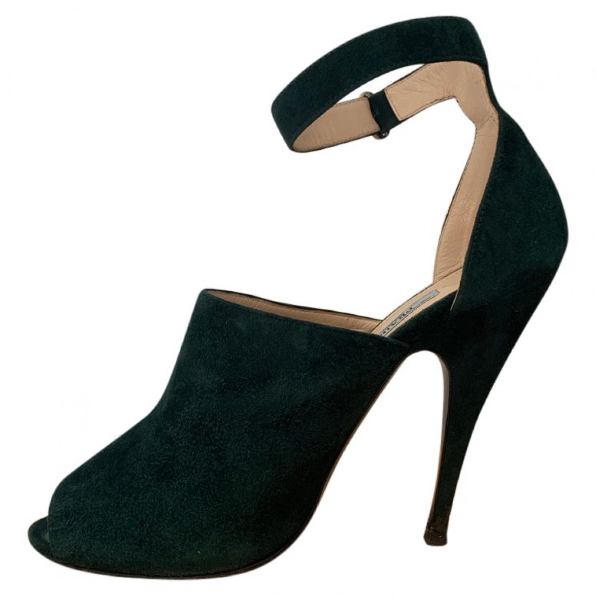 Prada \N Green Suede Heels for Women 38 EU