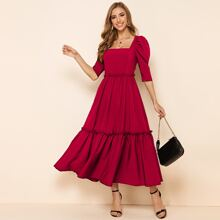 Square Neck Gigot Sleeve Frill Trim Flare Dress