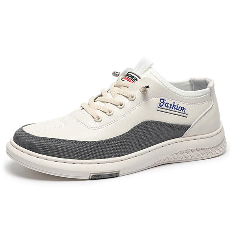 Men Sport Microfiber Leather Splicing Soft Wearable Sole Casaul Sneakers