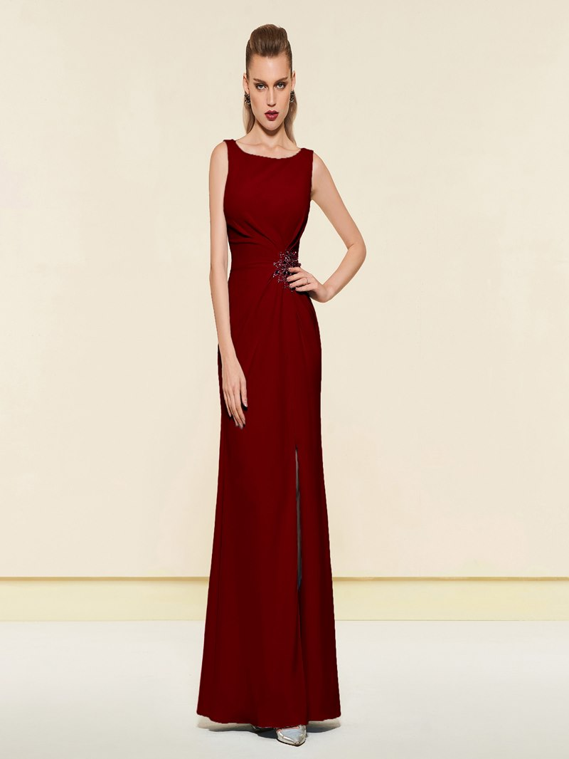 Ericdress Beading Sheath Evening Dress With Side Slit