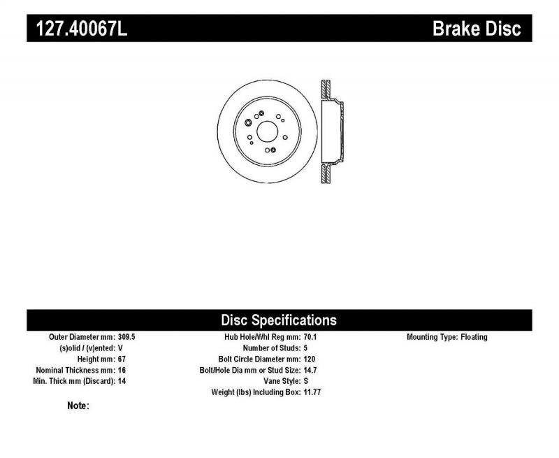 StopTech 127.40067L Sport Drilled/Slotted Brake Rotor; Rear Left Acura RL Rear Left 2005-2012