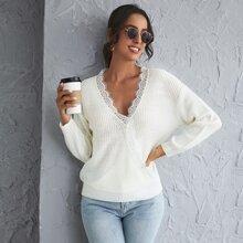 Drop Shoulder Eyelash Lace Trim Sweater