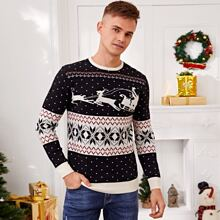 Jersey de cuello redondo con estampado de Navidad