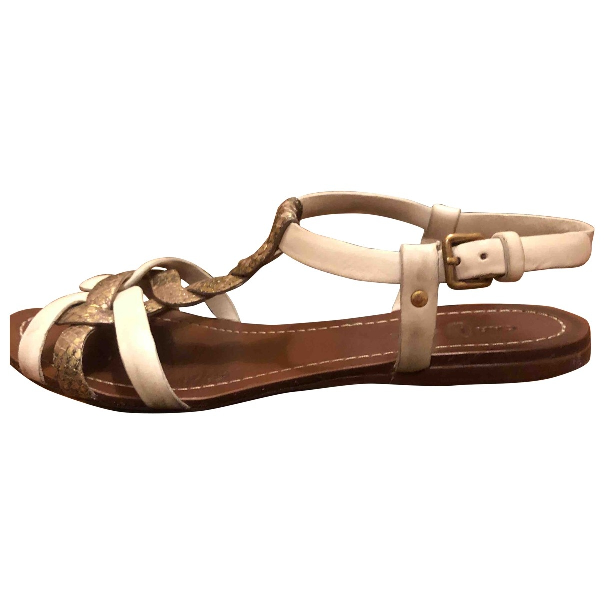 Carshoe \N White Leather Sandals for Women 37 EU