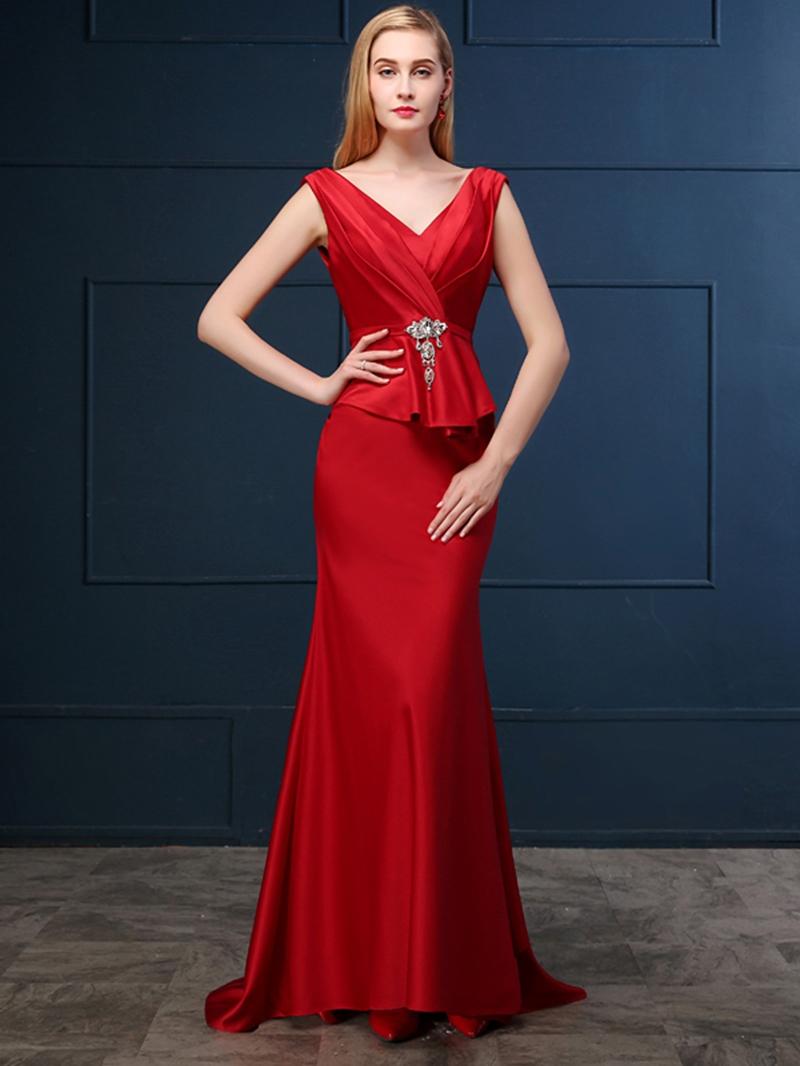 Ericdress Elegant Sheath V Neck Deep Back Floor Length Evening Dress