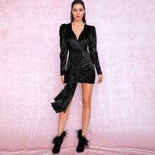 Ruched Draped Glitter Gigot Sleeve Bodycon Velvet Dress
