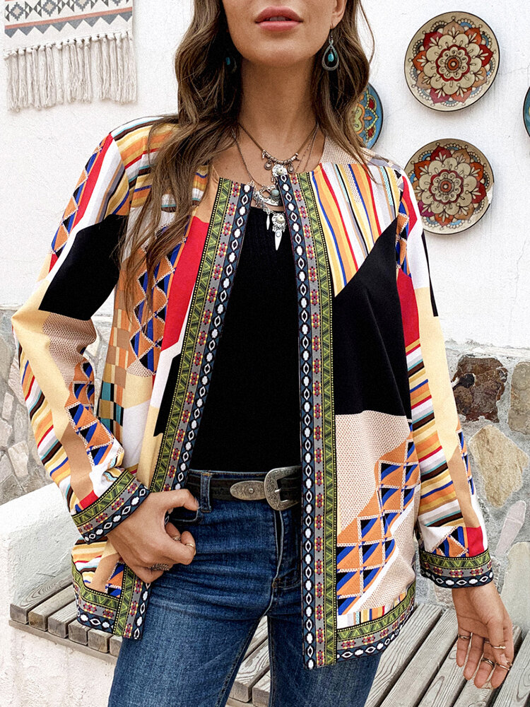 Geometric Ethnic Print Patchwork Long Sleeve Vintage Jacket For Women