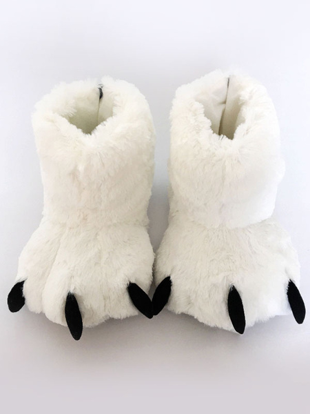 Milanoo Kigurumi Pajamas White Bear Claws Slipper Footwear Costume Accessories Halloween