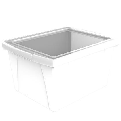 Storex® 4 gallons/15 L, bac de rangement pour salle de classe avec couvercle - Blanc