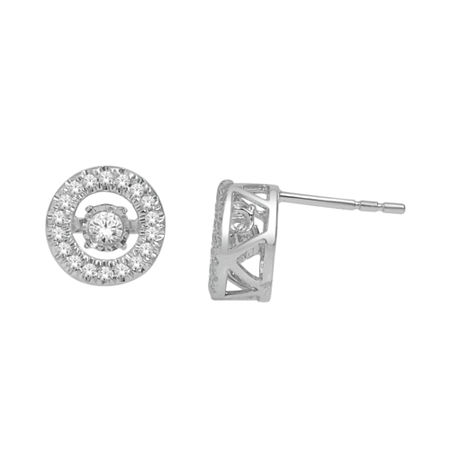 Love in Motion 1/3 CT. T.W. Diamond 10K White Gold Round Earrings, One Size , No Color Family