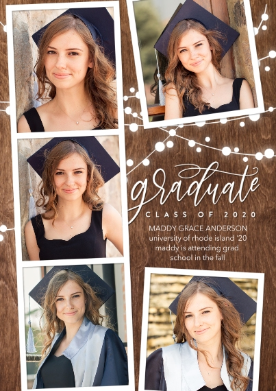 Graduation Announcements 5x7 Cards, Premium Cardstock 120lb with Rounded Corners, Card & Stationery -2020 Graduate Lights by Tumbalina