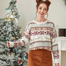 Christmas Pattern Drop Shoulder Sweater