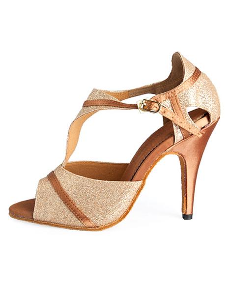 Milanoo Gold T-Strap Latin Dance Shoes