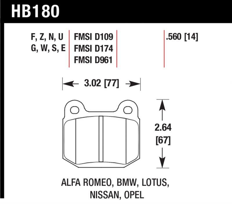 Hawk Performance HB180Z.560 Disc Brake Pad