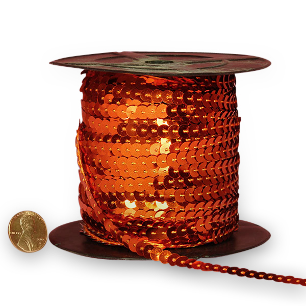 Cord Orange Metallic Strung Sequins 6 mm X 80 Yards by Ribbons.com