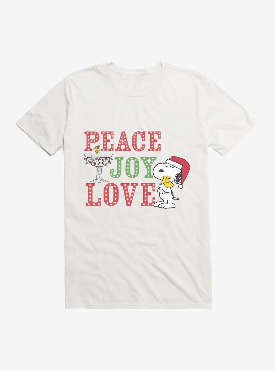 Peanuts Christmas Peace Joy & Love Snoopy Woodstock T-Shirt