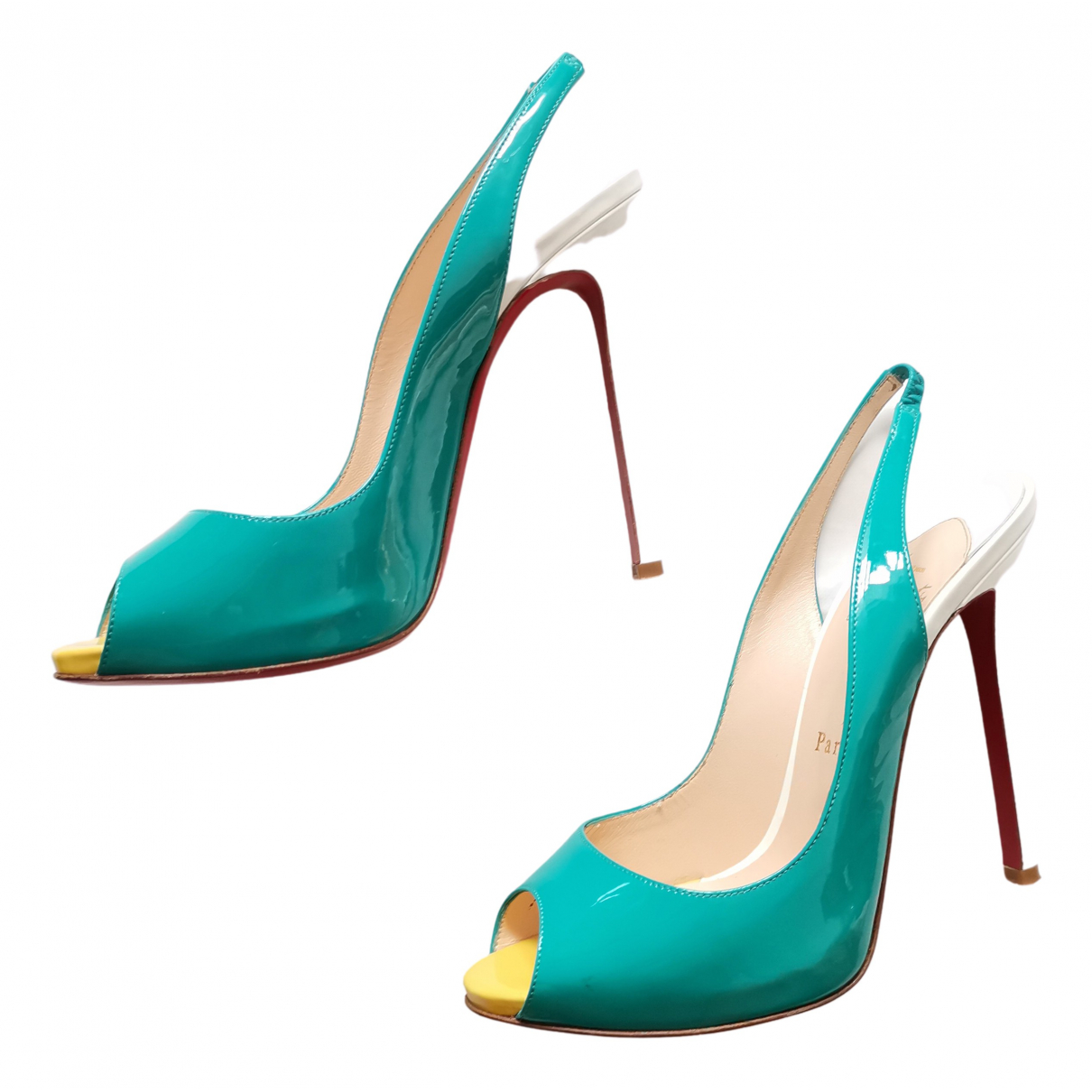Christian Louboutin Private Number Pumps in  Tuerkis Lackleder